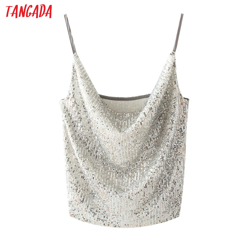 Women Sexy Sequined Party Camis Crop Top Spaghetti Strap Backless Blouses Shirts Female Casual Solid Tops QJ150