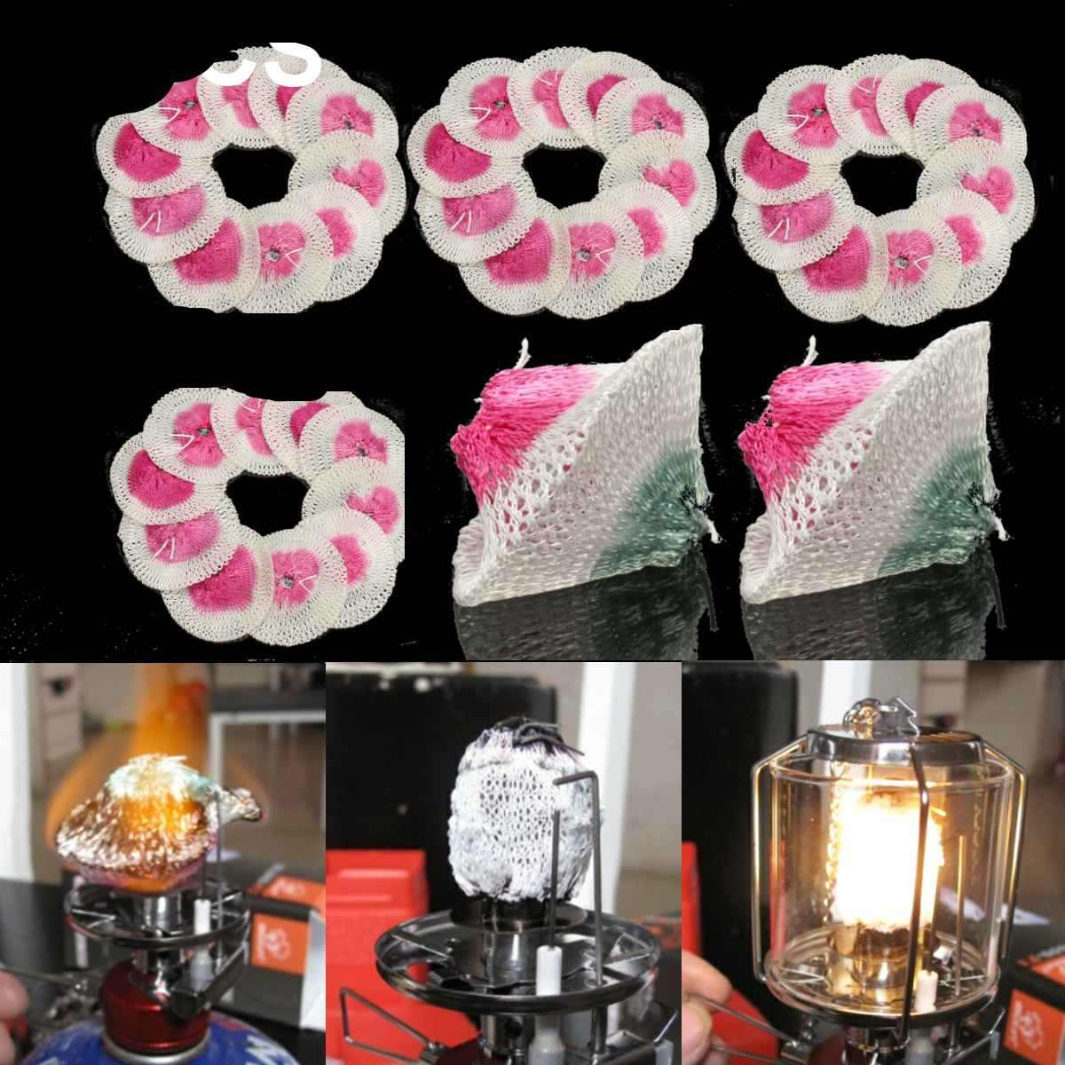 Heart Service Gas Lantern Gauze Cover Mantles Kerosene Lamp Cover Cotton Yarn Wick Shade Home Outdoor Use 6 Pieces//1 Set