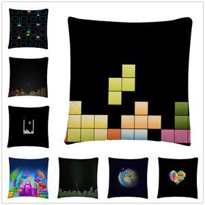 Klasyczna gra Tetris wzór lniana poszewka na poduszkę poszewka na poduszkę domowa Sofa wystrój samochodu poszewka 45X45cm