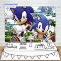 Sonic the Hedgehog Jogo fotografia Backdrops Fundos Para Meninos Crianças Felizes 10th Banner de Mesa Fontes Do Partido Do Bolo de Aniversário