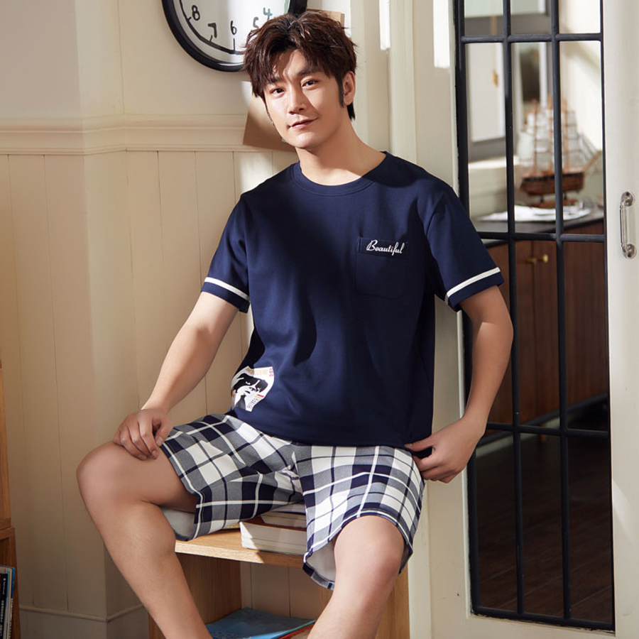 Men's Pajama Sets Summer Man Pajamas Set Simple Sleepwear Short Sleeve Cotton Pajamas For Men Short Top Pant Leisure Outwear