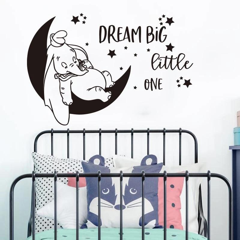 DUMBO DISNEY Wall Sticker Dream Big LITTLE One NURSERY Baby Vinyl Child Decals