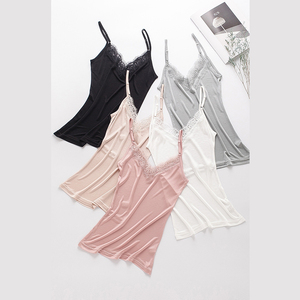 Image 3 - 50% Natural silk plus size lace camisoles for women lingerie top sexy femme undershirt women tank top Camis white halter top