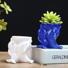 White Ceramic Flower/animal Dolphin Fleshy Flower Pots/crafts Ornaments Porous Pots