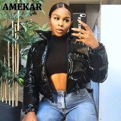 Sisterlinda Faux PU Leather Bubble Puffer Winter Warm Jacket Women Coats Long Sleeve Outerwear Zipper Casual Slim Parkas2021