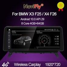 NaviFly Auto Radio DVD-Player Für BWM X3 F25 2010-2016 / X4 F26 2014-2016 Android 10,0 qualcomm Snapdragon 625 Carplay 4GB + 64GB