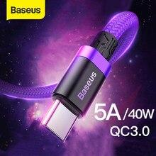 Baseus 5A USB Typ C Kabel für Huawei P30 Lite Mate 20 30 Pro Aufzurüsten Typ C Kabel Schnell Ladung 3,0 USB-C Ladegerät Draht Kabel