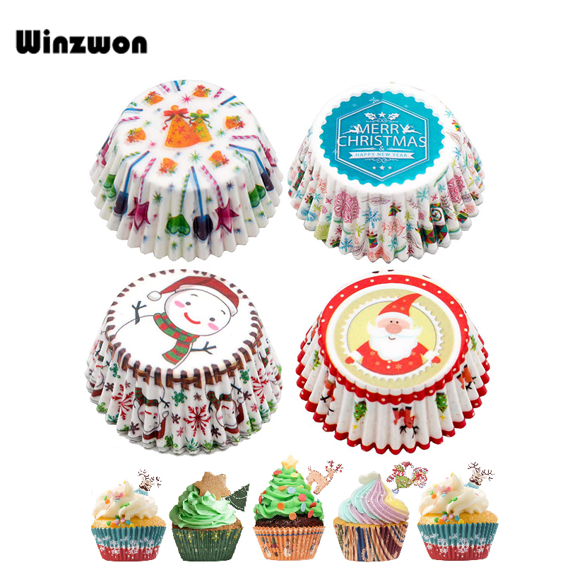100Pcs/lot Christmas Cupcake Paper Cups Muffin Cupcake Liners Merry Xmas Baking Cup Cake Paper For Christmas Party Baking Decor