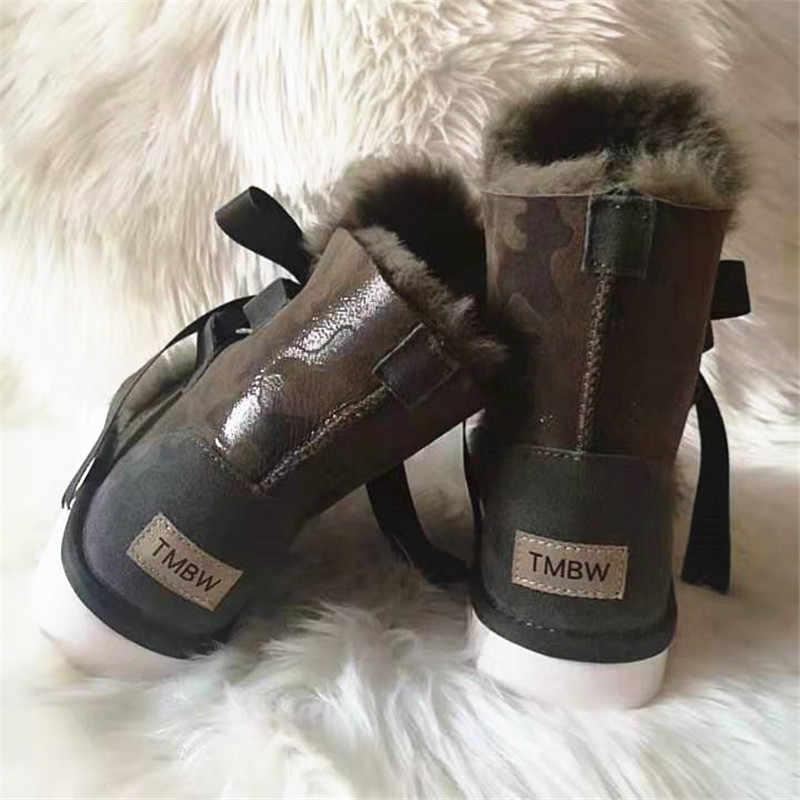 2020 yeni kamuflaj 100% gerçek kürk klasik Mujer Botas su geçirmez hakiki koyun derisi deri kar botları kış ayakkabı