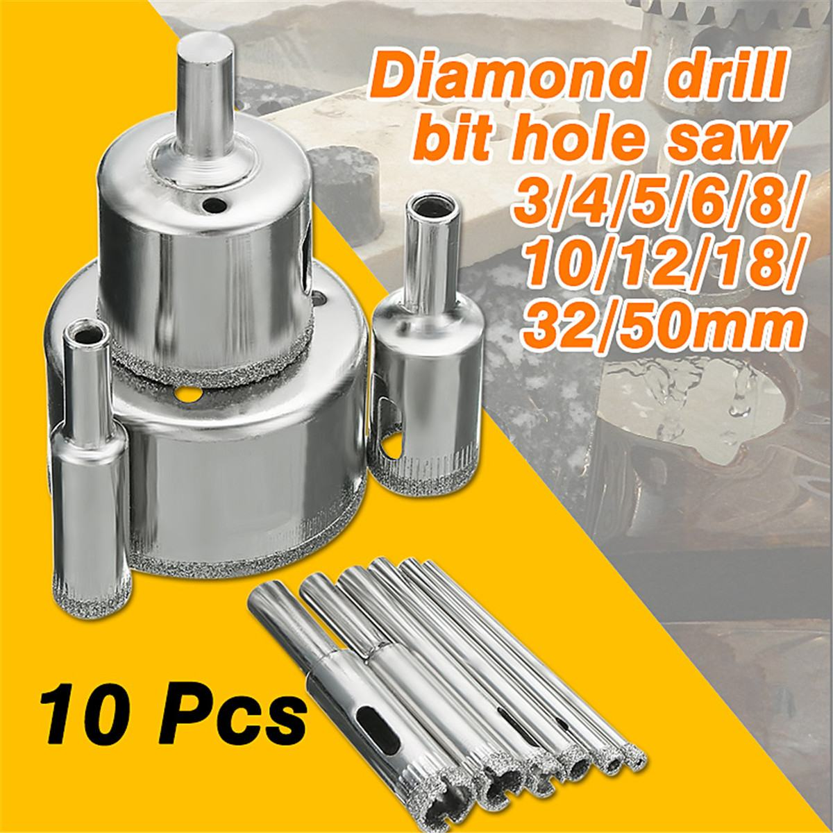 10Pcs Diamond Coated Drill Bits 3-50mm Hole Saw Cutter Set For Glass Marble Granite