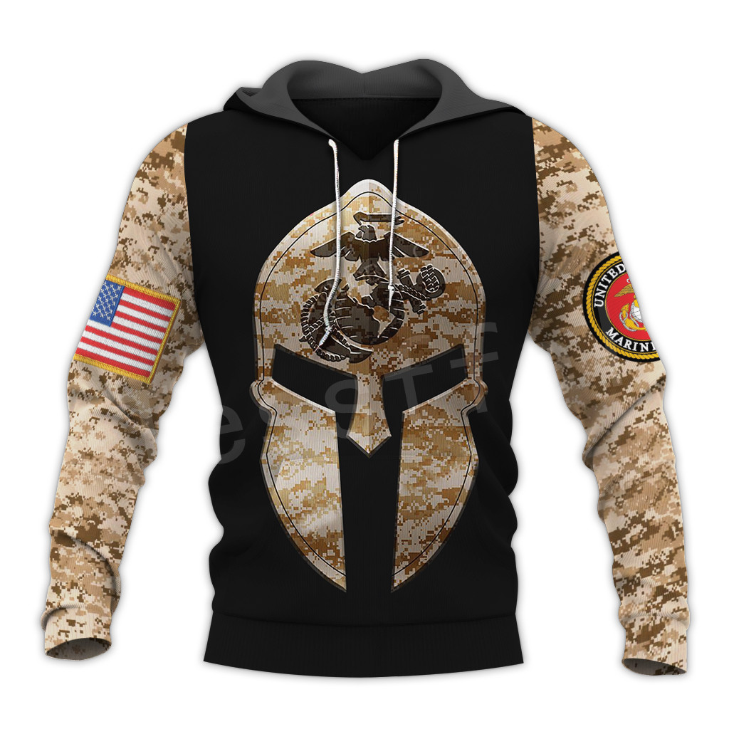 Tessffel America Marine Camo Skull Pullover Soldier Army NewFashion Harajuku 3DPrint Zip/Hoodie/Sweatshirt/Jacket/Men/Women B-8