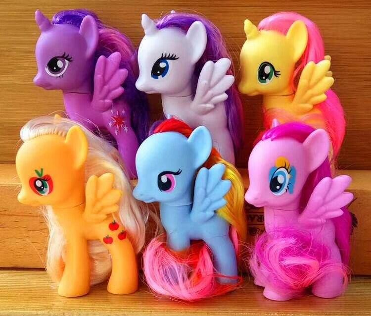 6Pcs/Set  Colored Unicorn Purple Princess Rainbow Apple Jack Rarity Fluttershy Pinkie Pie Action Toy Figures  8*3*5 CM