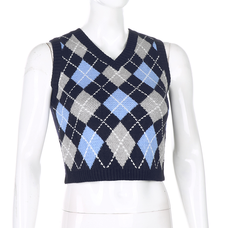 Sweetown Argyle Plaid Knitted Tank Top Female Knitwear Preppy Style Y2K Clothes V Neck Casual Crop Sweater Vest 90s Streetwear 4