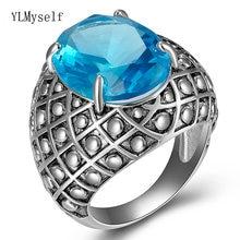 Кольцо hyperbole big ovel с синим камнем антисеребристый цвет