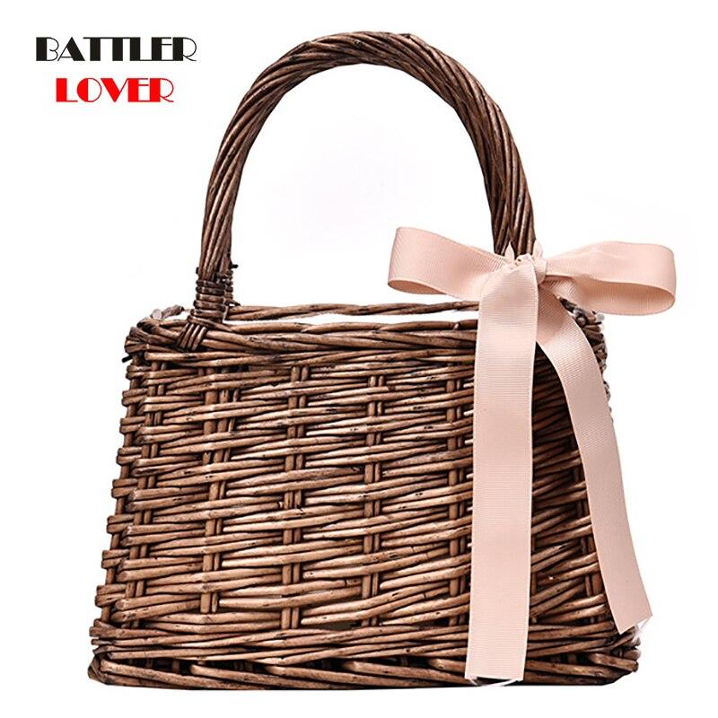 2019 Brand Designer Female Small Tote Bags for Summer Travel Handle Bag Women Bead Hand-woven Straw Bag Ladies Shoulder for Girl