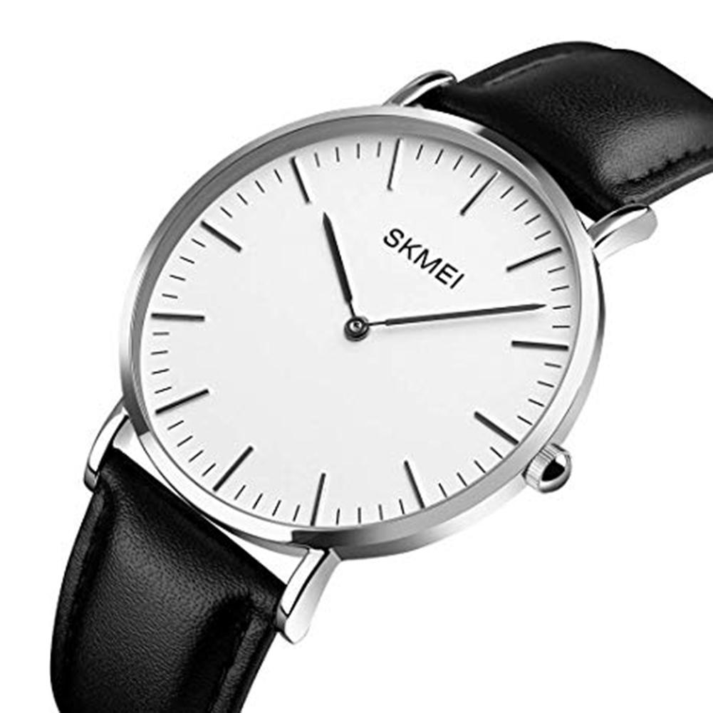 SKMEI 1181 Unisex Faux Leather Strap Thin Round Dial No Numbers Analog Quartz Watch