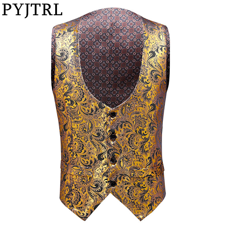 PYJTRL New Mens Plus Size Fashion Floral Pattern Gold Print Waistcoat Men Gilet Homme Stage Singers Costume Wedding Groom Vest