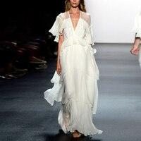 Vacation Boho Chiffon Maxi Beach Dresses Women Summer Elegant White Ruffles Pleated Long Dress 2020