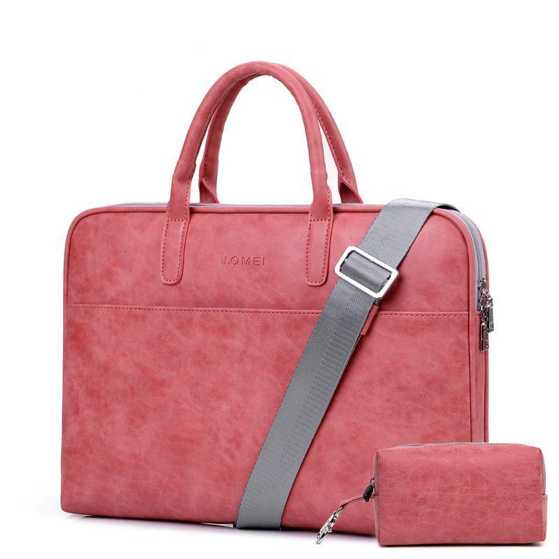 Waterproof PU Leather Laptop Case 13 14 15 Inch Business Handbag Notebook Tablet Briefcase With One Extra Adapter Bag