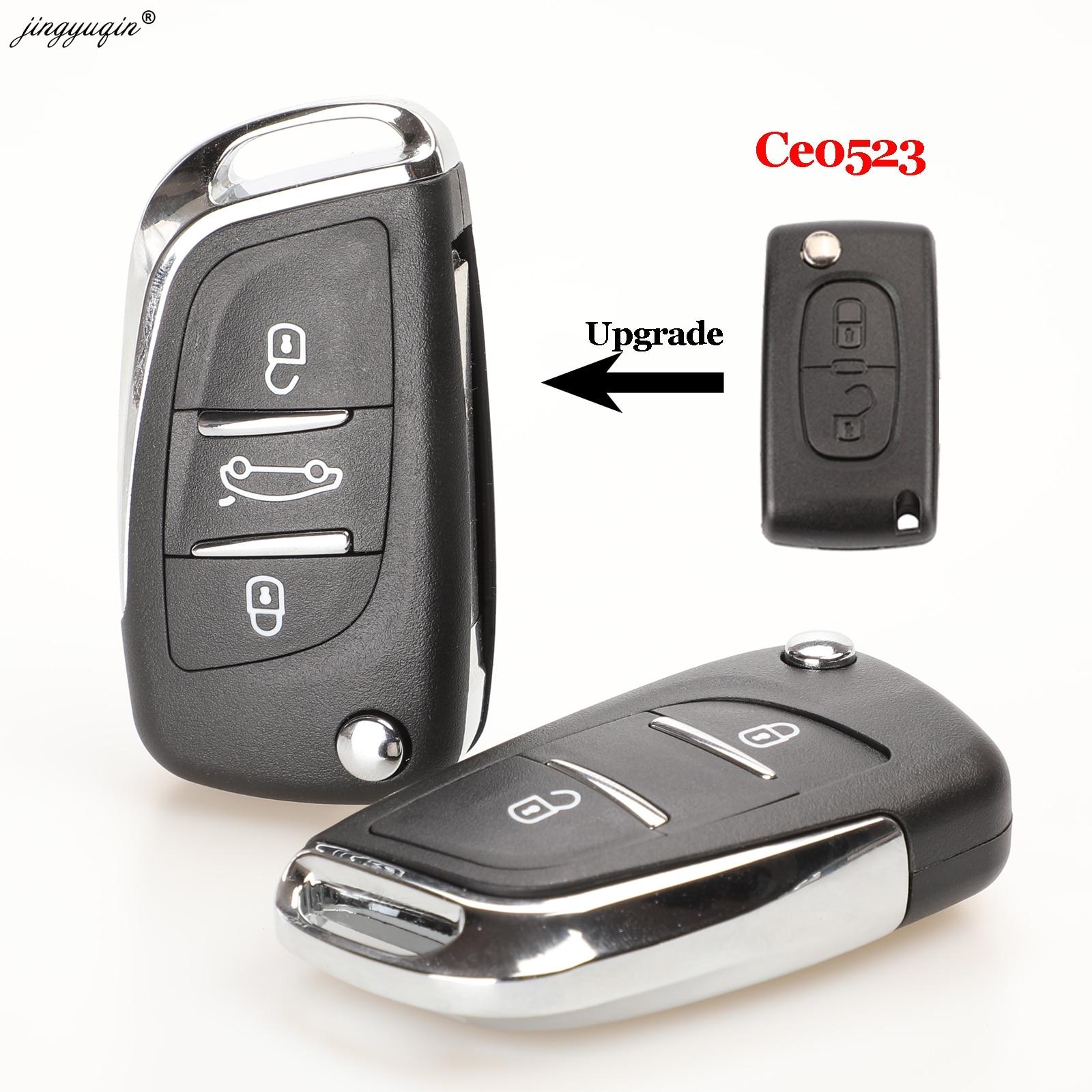 Jingyuqin va2/hu83 2/3b ce0523 modificado flip remoto chave do carro escudo para citroen coupe vtr c2 c4 c5 c6 c8 berlingo xsara picasso