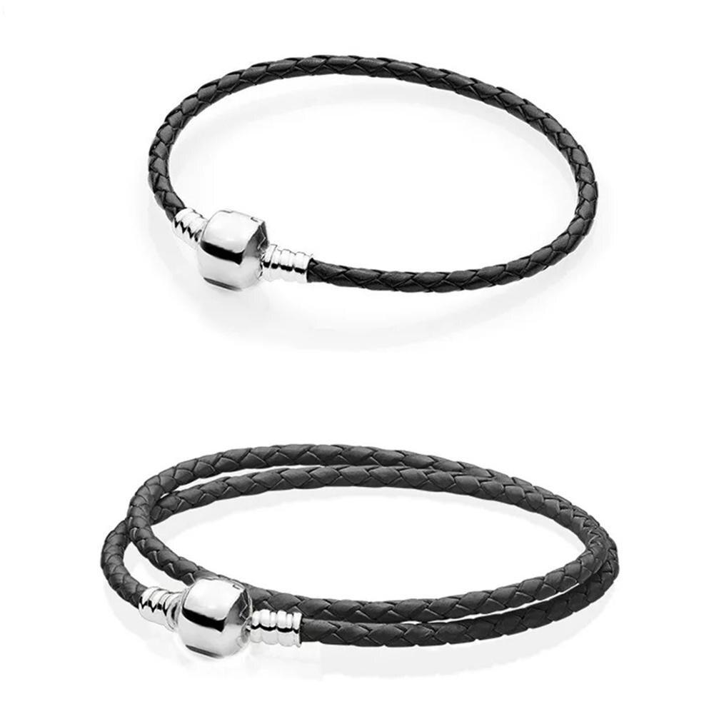 Baofu, nuevo, Original, pulsera de plata de ley 925, pulsera de cuero de firma negra, adecuada para mujeres, joyería de moda DIY con cuentas