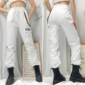Image 2 - Rockmore Nero Pantaloni Cargo Con Tasche Catena Delle Donne Dei Pantaloni A Vita Alta Bianco Pantaloni Larghi del Piedino Femme Mutanda Inverno Streetwear Autunno