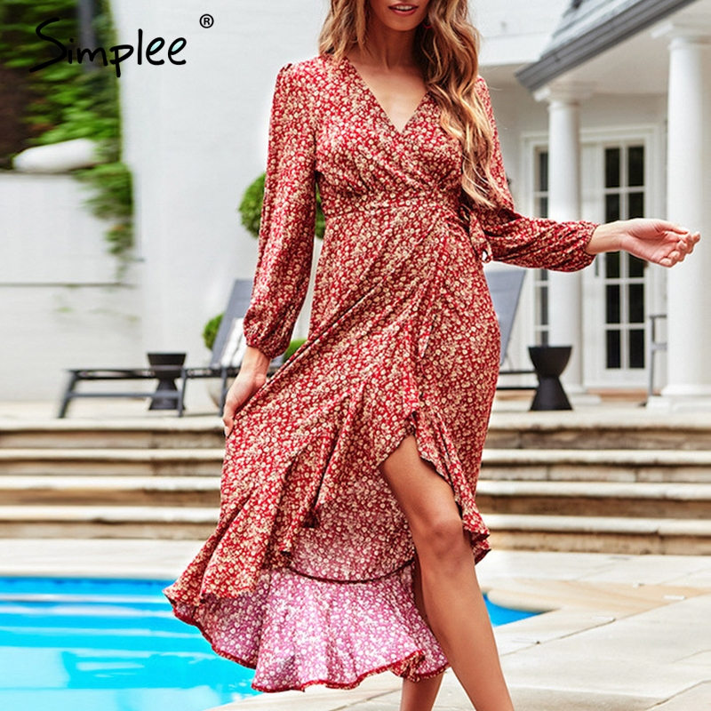 Simplee Elegant print high waist long sleeve dress women Sexy V-neck front split ruffles midi dress Casual female holiday dress