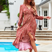 Simplee estampado elegante de alta cintura de manga larga vestido de las mujeres Sexy cuello pico frente split volantes midi vestido Casual mujer vacaciones vestido