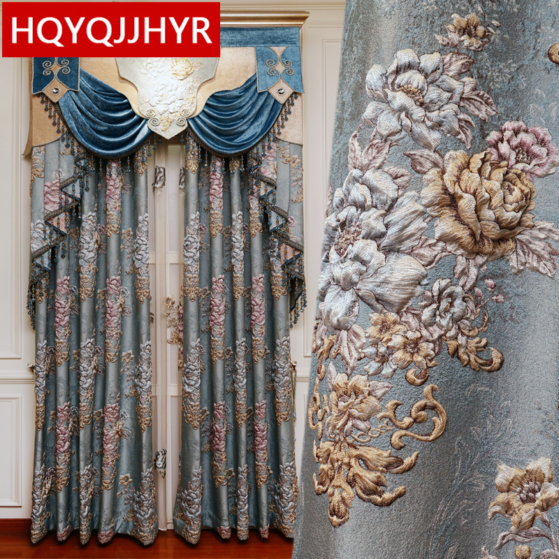 Blue European Royal Luxury High Quality 4D Embossed Jacquard Full Blackout Curtains For Living Room Window Curtain Bedroom Hotel