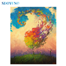 SDOYUNO Full square/round Colourful Tree 5d DIY Diamond Painting Mosaic Diamond embroidery Rhinestone Pictures Cross Stitch sdoyuno full square round landscape 5d diy diamond painting rhinestone pictures mosaic cross stitch diamond embroidery