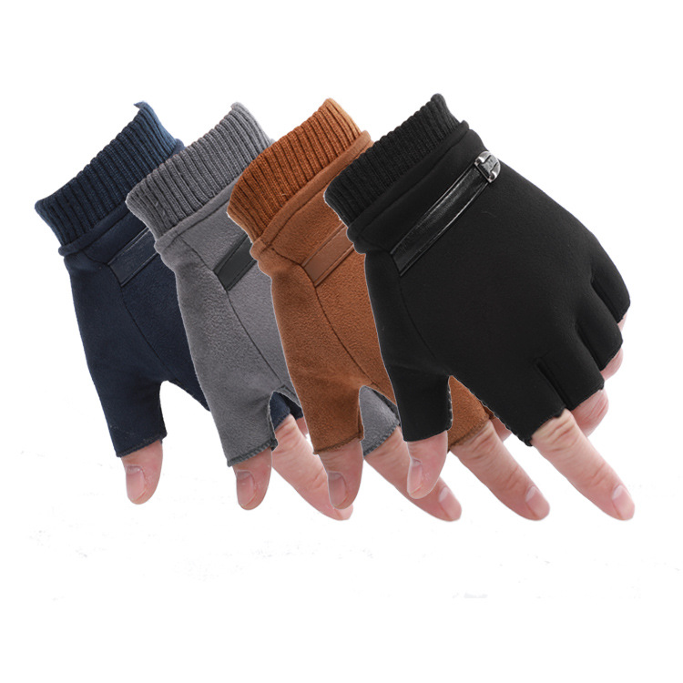 Manufacturers Direct Selling Spring And Autumn Riding Half-finger Gloves Outdoor Sports Fitness Gloves Suede Warm Gloves