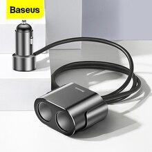 Baseus Car Chargerบุหรี่ไฟแช็กซ็อกเก็ตSplitter Hub Power AdapterสำหรับiPhone Samsungโทรศัพท์มือถือExpander Charger DVR GPS
