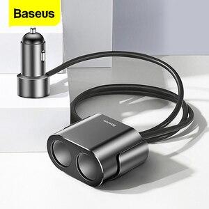Image 1 - Baseus شاحن سيارة ولاعة السجائر المقبس الفاصل محور محول الطاقة آيفون سامسونج الهاتف المحمول المتوسع شاحن DVR لتحديد المواقع