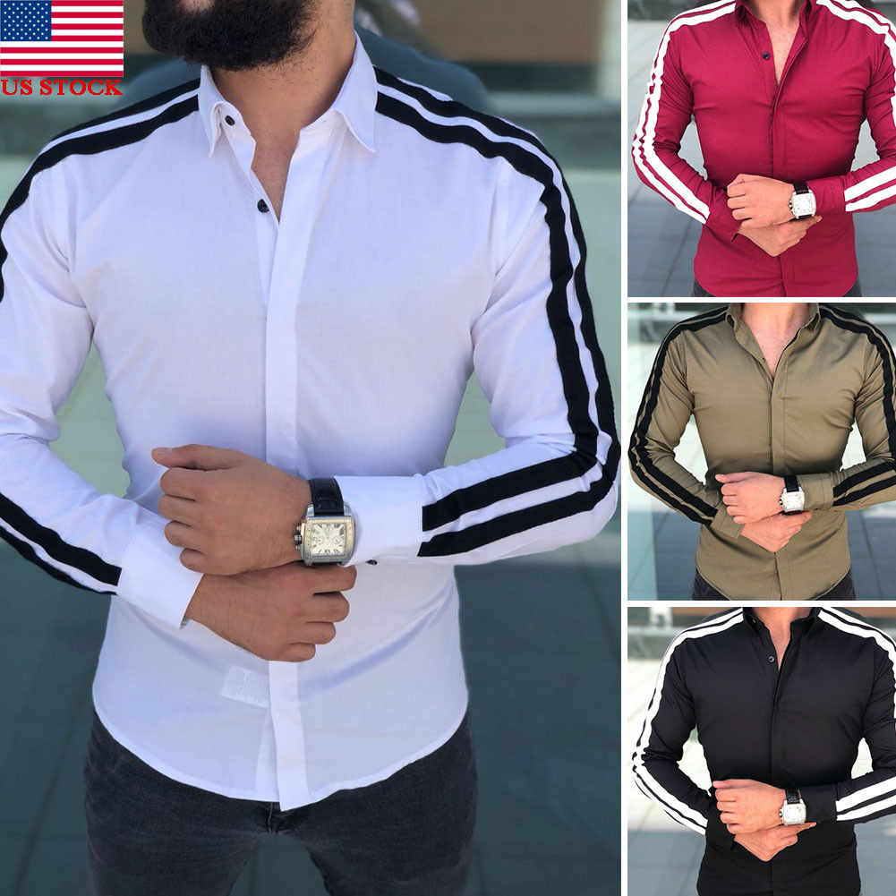 Local Stock Fashion Men's Casual Shirts Business Dress T-shirt Long Sleeve Slim Fit Tops