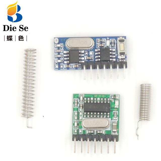 433Mhz Superheterodyne RF Receiver and Transmitter Module with antenna for Arduino DIY Kit 4 Ch output With Learning Button
