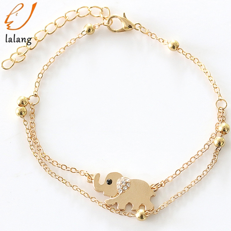 The New Baby Elephant Mascot Double Foot Chain Elephant Bangle Jewelry for Women Anklet Rose Gold Trendy Zinc Alloy Metal HJUEY
