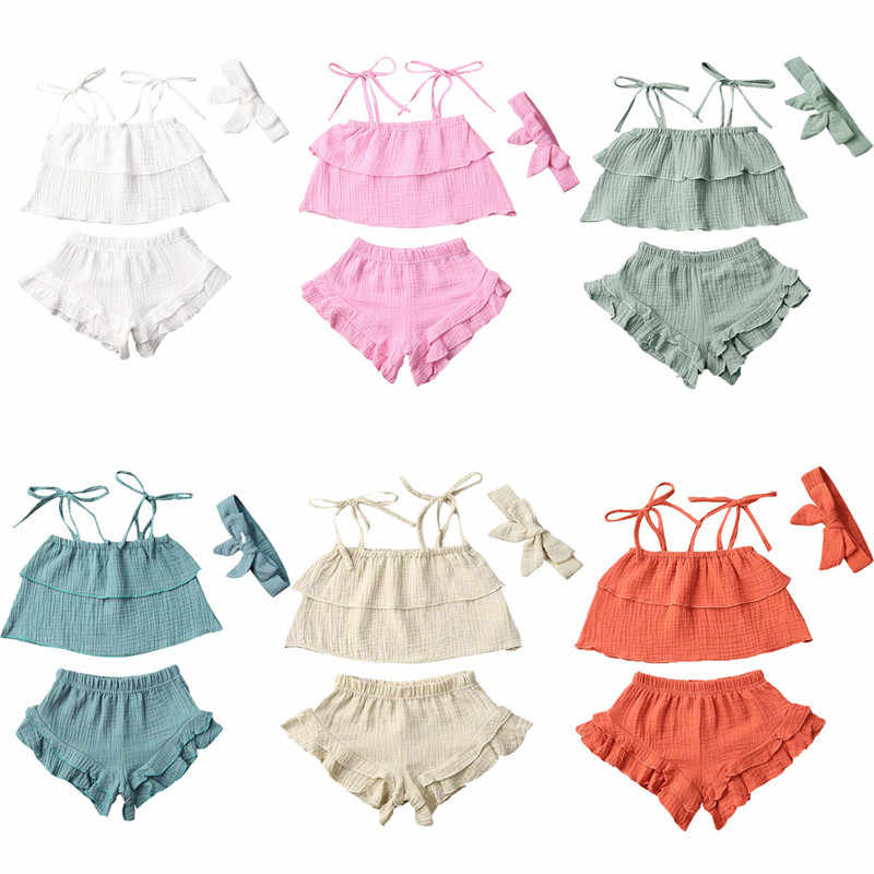 Summer Toddler Baby Girls Summer Casual Clothes Infant Girls Ruffle Lace Up Top+Shorts+Headband Baby Cotton Linen Clothing Sets
