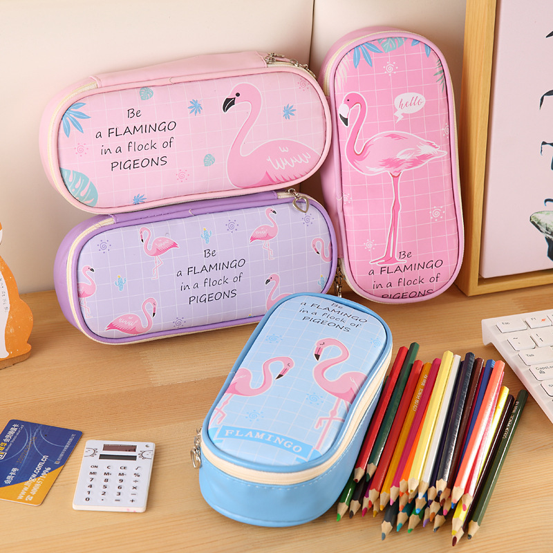 1 PC Kawaii Flamingo Pencil Cases Bags Large Capacity Leather Cartoon Pen Box Pouch Gift Office School Stationary Supplies 05198