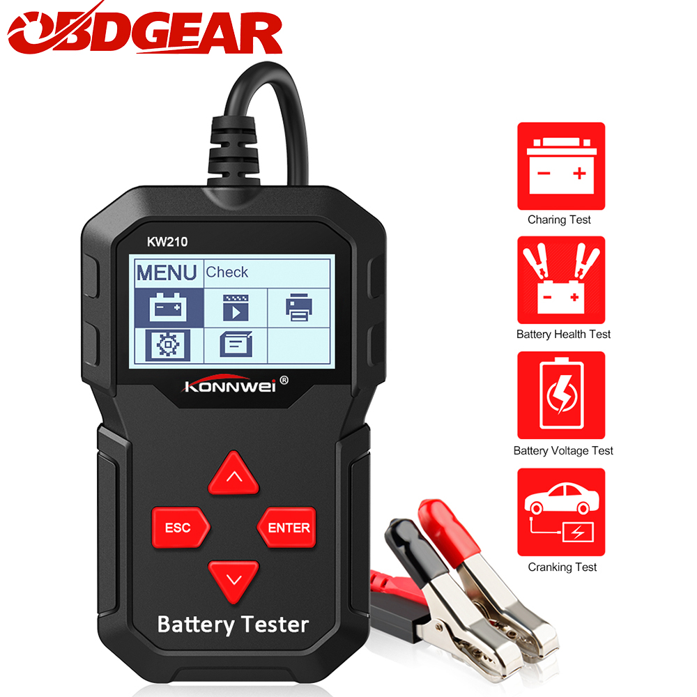 Newest Konnwei KW210 Automatic Smart 12V  Car Battery Tester  100-2000 CCA Car Battery Analyzer Auto Repair Tool Regualr Flooded