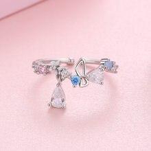 Женское кольцо с цветком бабочки Todorova, регулируемое кольцо с цирконием, свадебные украшения, подарок для девочек