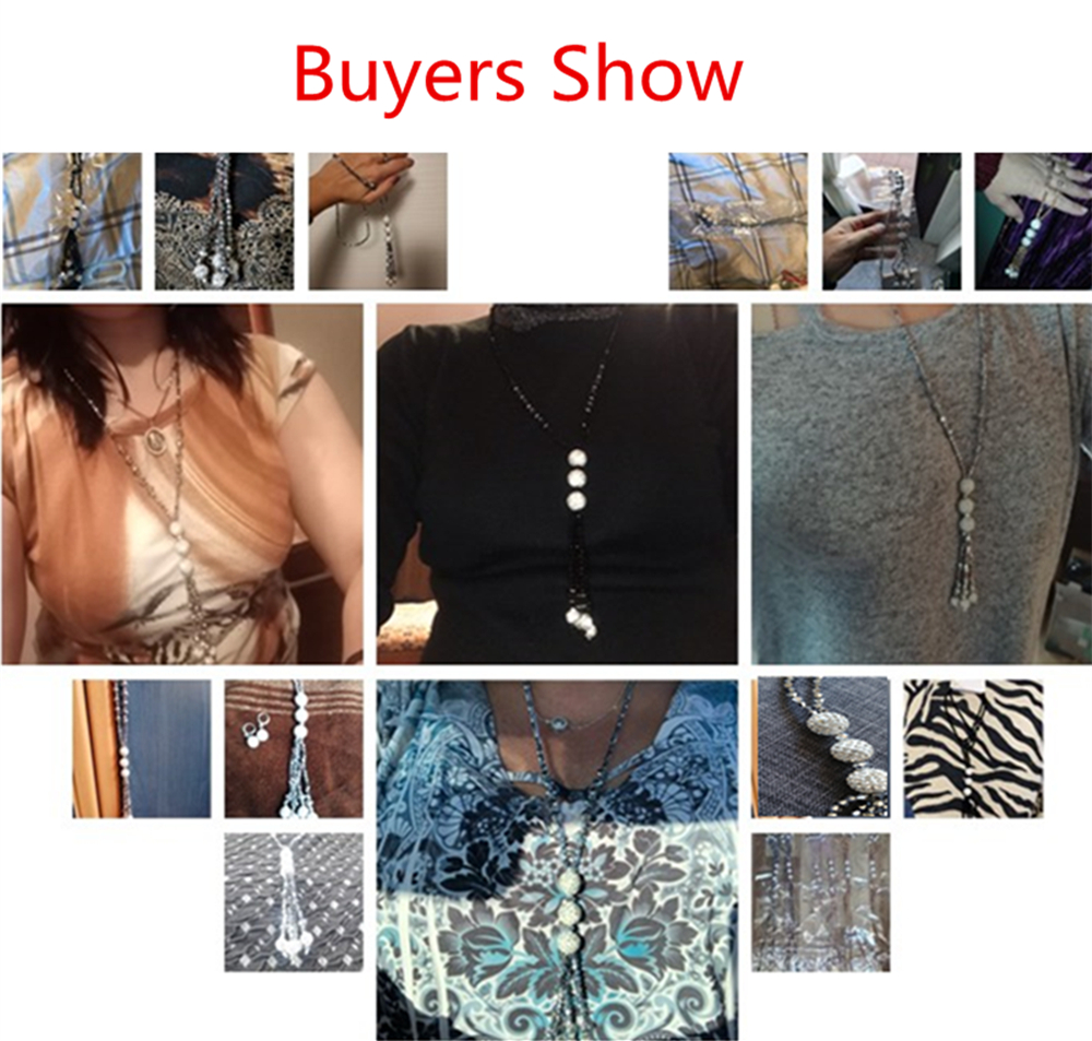 Women Fashion Shiny Crystal Beaded Long Necklace