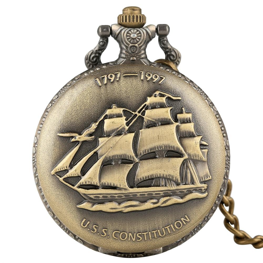 Classic Sailing Canvas Boat Ship Pocket Watch Men Necklace Clock Quartz Women Pandent Watches Blessing Gifts Montre Gousset Homm