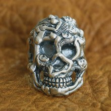 925 Sterling Silver Sexy Naked Grils Skull Ring Mens Biker Punk Ring US Size 8~10 925 sterling silver king kong ring mens biker punk ape king ring us size 7 5 10