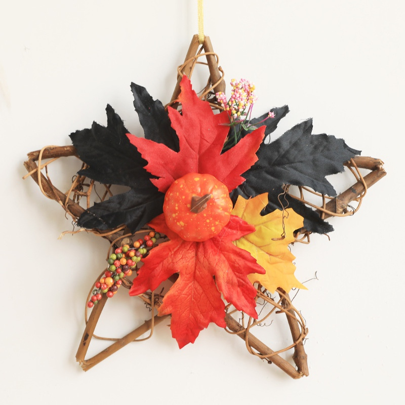 Halloween Decoration Farmhouse Decor Wreath Star Shape Decorative Artificial Maple Leaves Autumn Garland For Front Door Home image