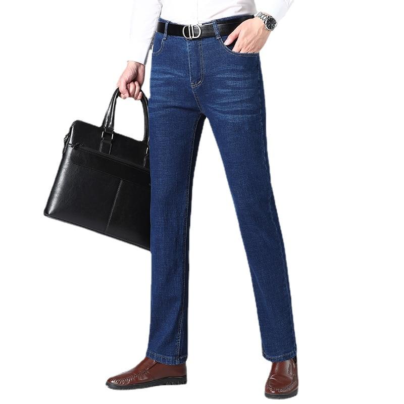 Men's Classic Relaxed Fit Flex Jean 2021 spring autumn new Four Seasons High waist Business casual black blue denim trousers