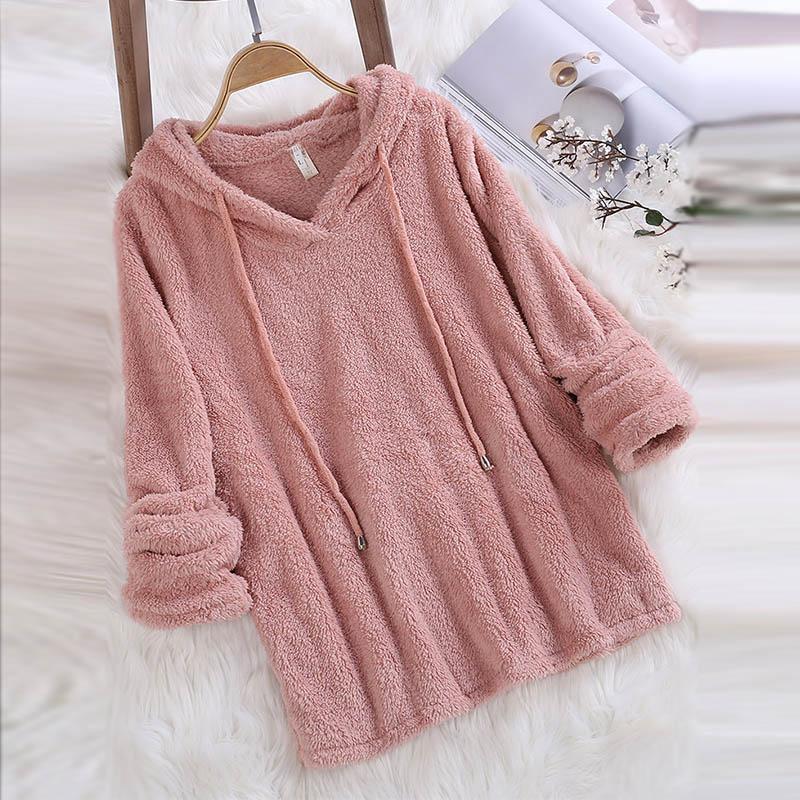 Women Hoodies Sweatshirt 2019 Winter Autumn Fashion Solid Color  Concise Hoodie Casual Long Sleeve Hooded Tops Warm Velvet Coat