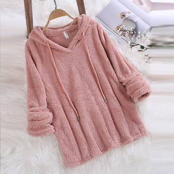 Women Hoodies Sweatshirt 2019 Winter Autumn Fashion Solid Color  Concise Hoodie Casual Long Sleeve Hooded Tops Warm Velvet Coat women solid color plush hooded sweatshirt autumn winter long sleeve loose warm hoodies coat pockets casual fashion outwear tops