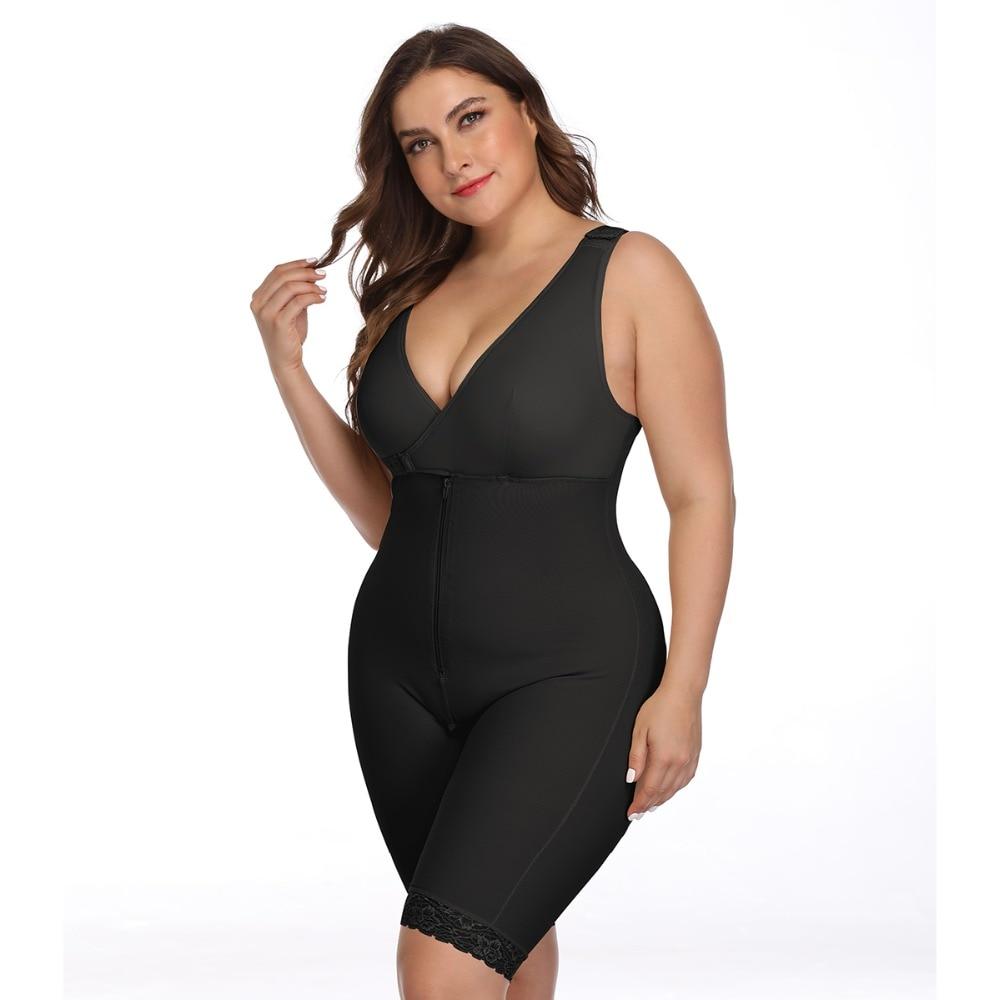 Women's Open Crotch Body Shaper Tummy Control Underwear Black Beige Plus Size 6XL Bodysuit Deep V Overbust Adjustable Shapewear (20)