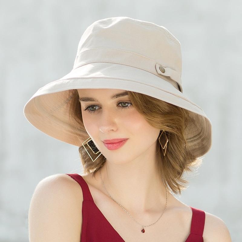 ENJOYFUR Summer Cotton Sun Hats For Women Wide Brim And Breathable Bucket Hats Youth Fashion Caps