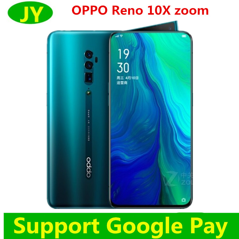 "Orijinal Oppo Reno 10x Zoom akıllı telefon Android 9 6.6 ""tam ekran NFC Snapdragon 855 Octa çekirdek 48MP + 13MP + 8MP parmak izi kimliği"